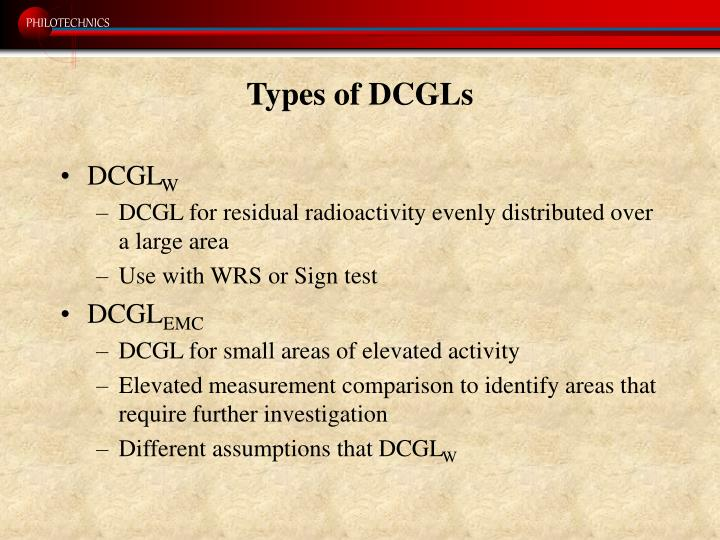 Types of DCGLs