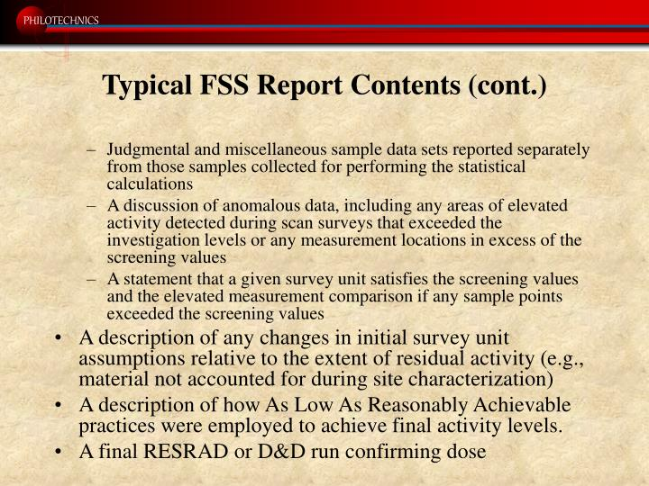 Typical FSS Report Contents (cont.)