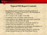 typical fss report contents