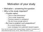 motivation of your study