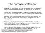 the purpose statement