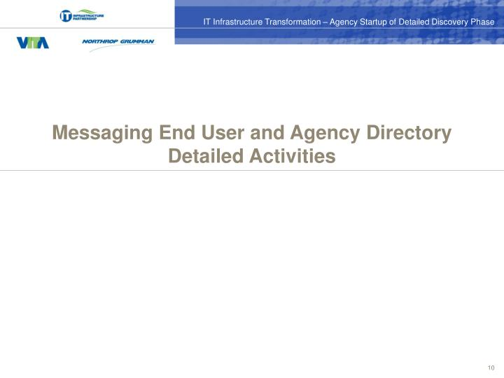 Messaging End User and Agency Directory Detailed Activities
