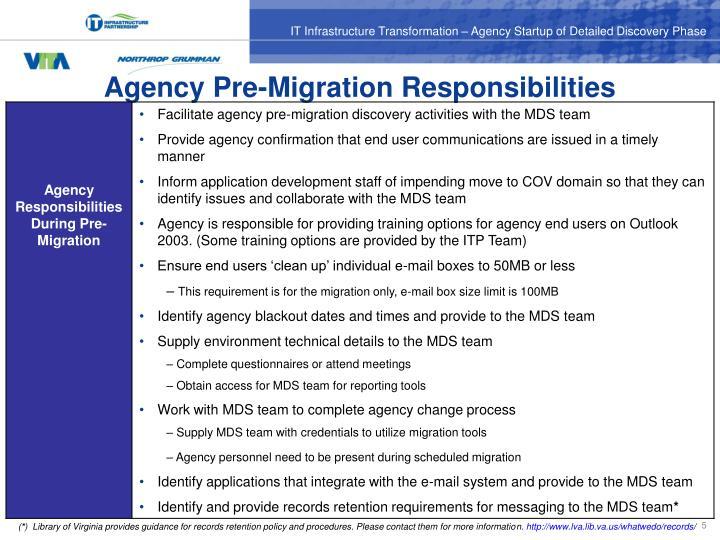 Agency Pre-Migration Responsibilities