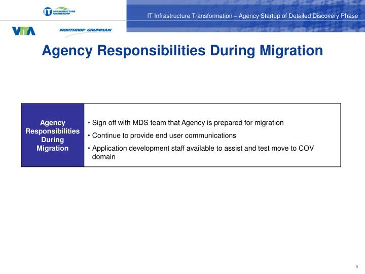Agency Responsibilities During Migration