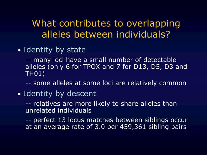 What contributes to overlapping alleles between individuals?