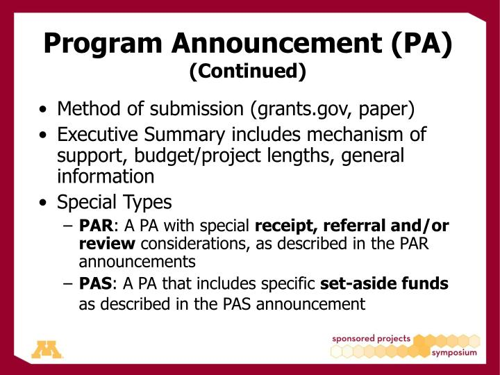 Program Announcement (PA)