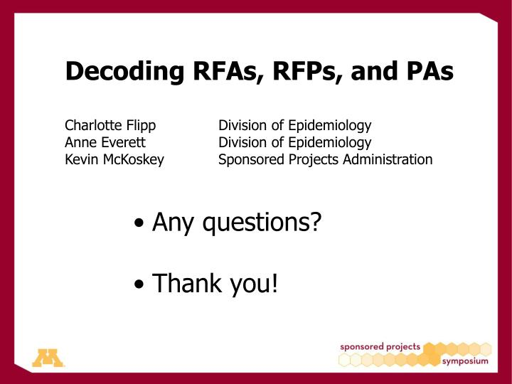 Decoding RFAs, RFPs, and PAs