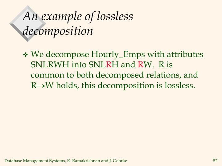 An example of lossless decomposition