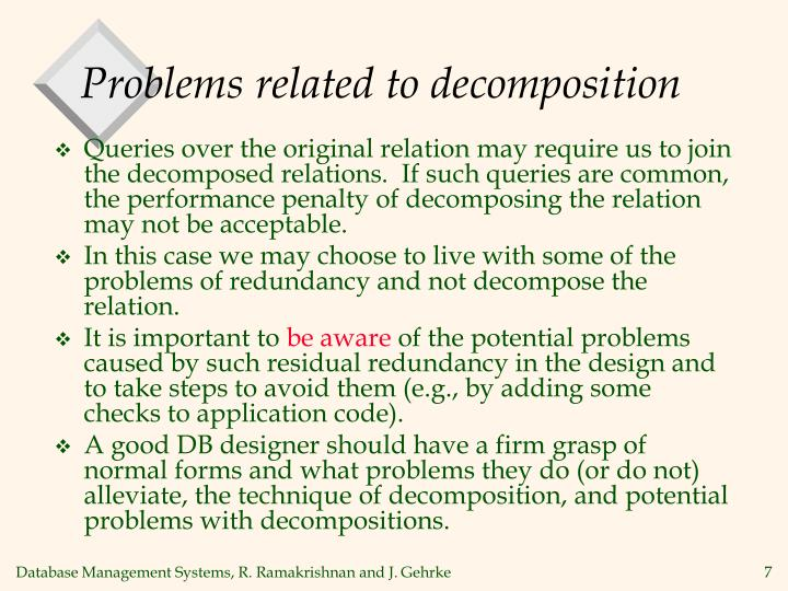 Problems related to decomposition