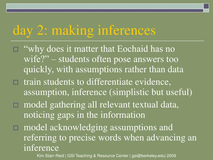 day 2: making inferences