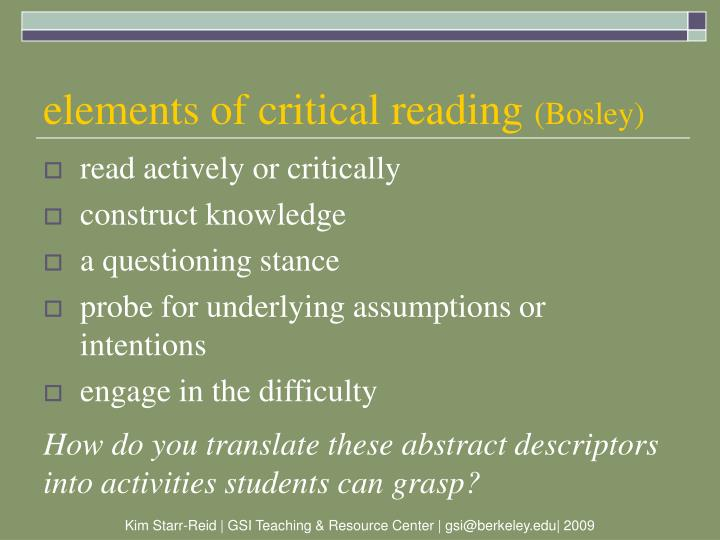 elements of critical reading