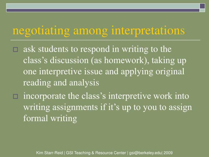 negotiating among interpretations