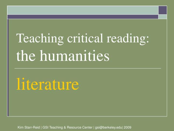 Teaching critical reading: