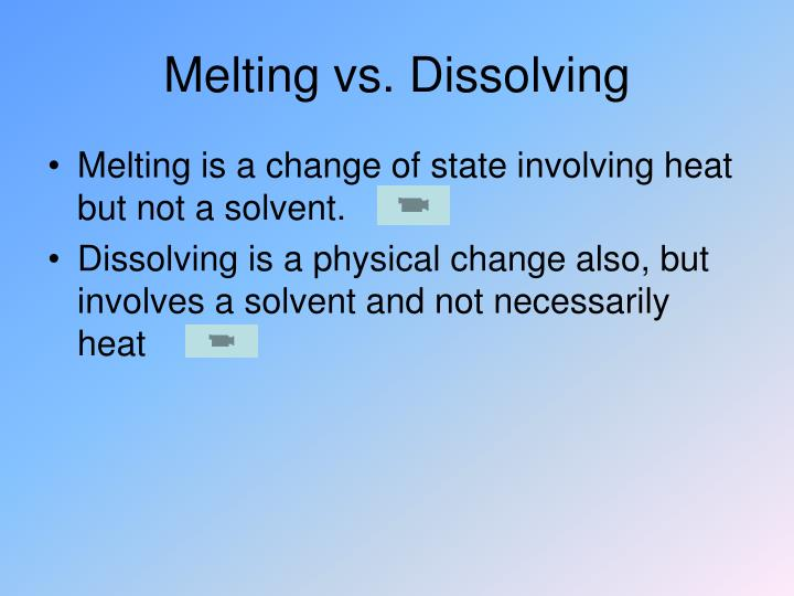 Melting vs. Dissolving