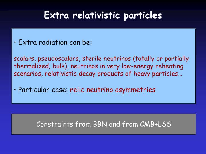 Extra relativistic particles