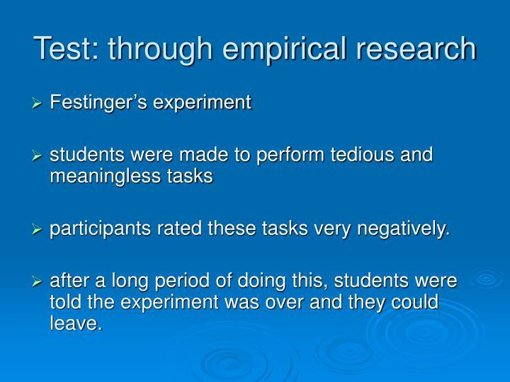 Test: through empirical research