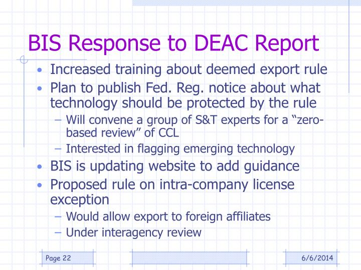 BIS Response to DEAC Report