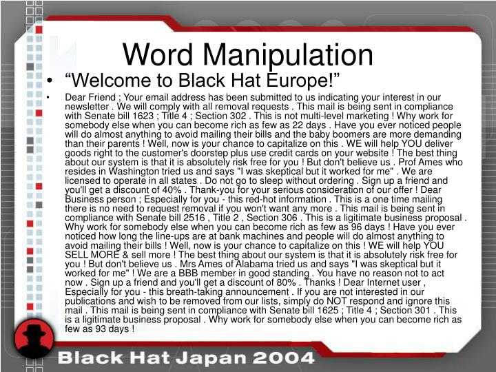 Word Manipulation