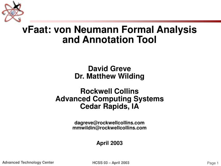VFaat: von Neumann Formal Analysis and Annotation Tool