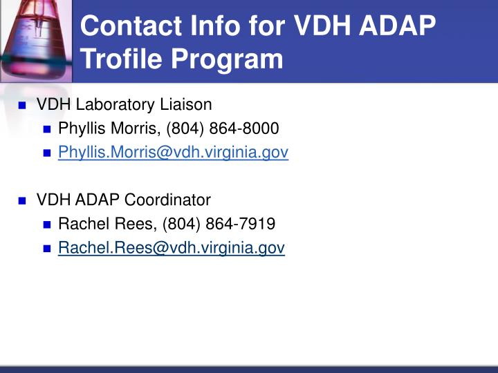 Contact Info for VDH ADAP Trofile Program