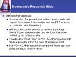 monogram s responsibilities