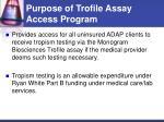 purpose of trofile assay access program