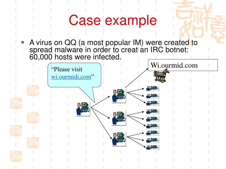 A virus on QQ (a most popular IM) were created to spread malware in order to creat an IRC botnet: 60,000 hosts were infected.