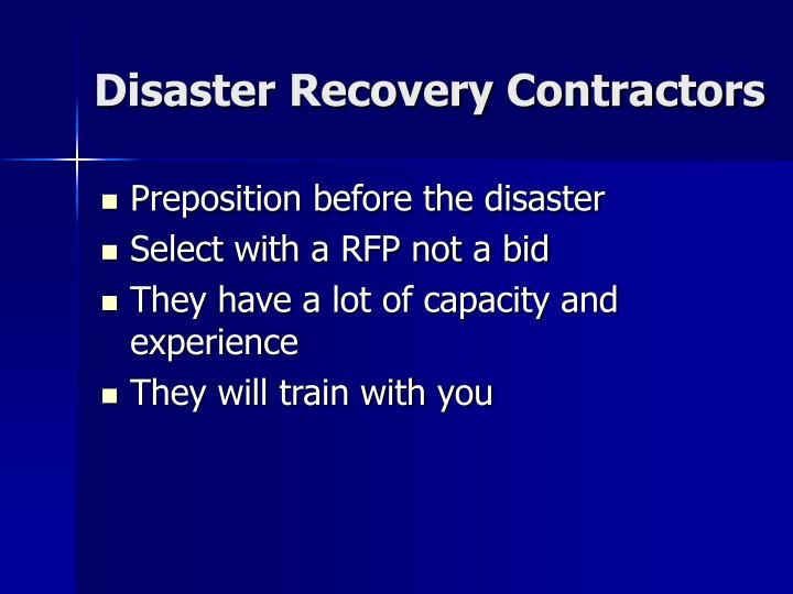 Disaster Recovery Contractors