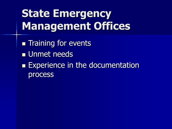 State Emergency Management Offices