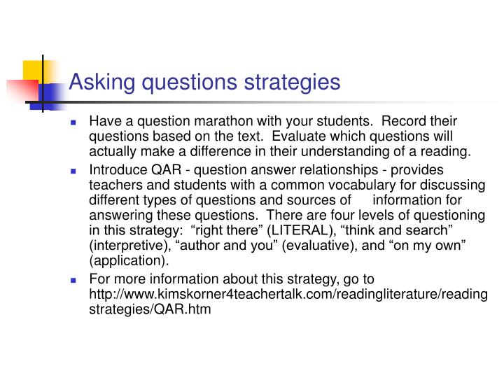 Asking questions strategies