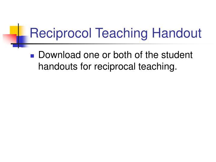 Reciprocol Teaching Handout