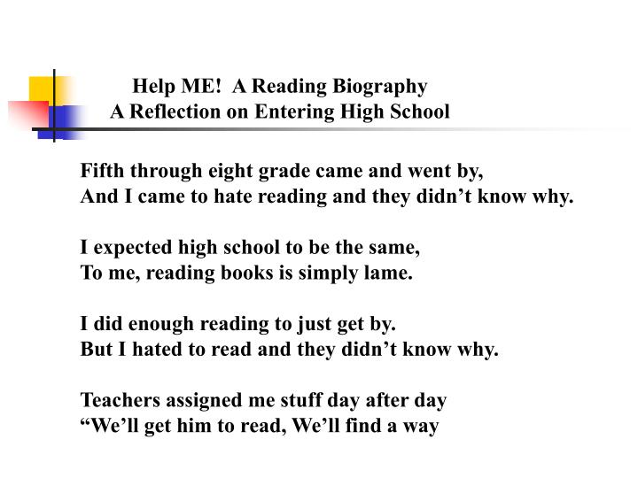 Help ME!  A Reading Biography