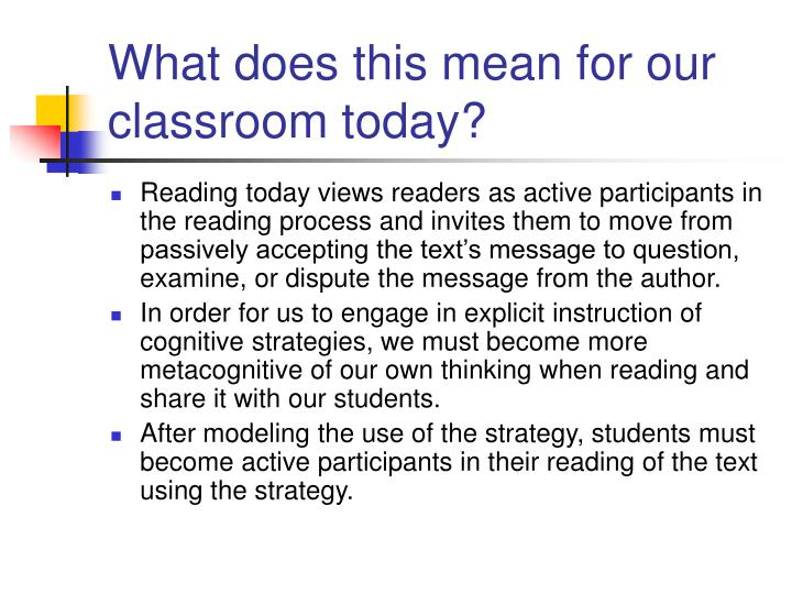 What does this mean for our classroom today?