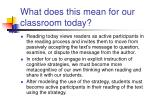 what does this mean for our classroom today