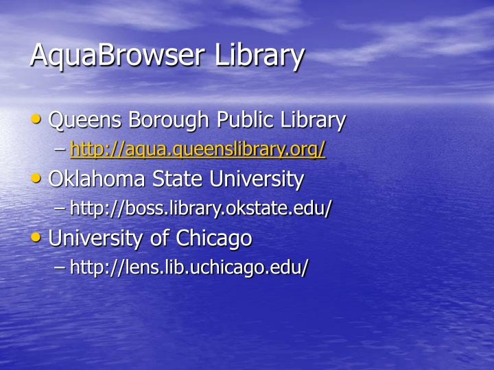 AquaBrowser Library