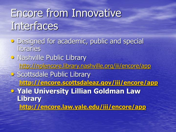 Encore from Innovative Interfaces