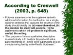 according to creswell 2003 p 6481