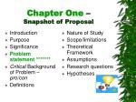 chapter one snapshot of proposal