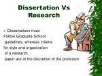 dissertation vs research