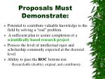 proposals must demonstrate
