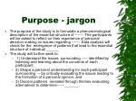 purpose jargon