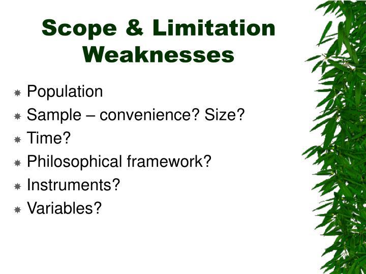 Scope & Limitation