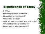 significance of study