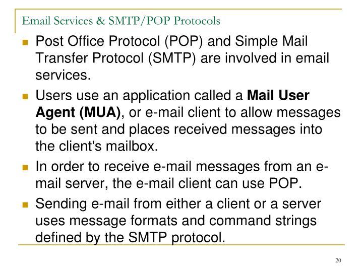 Email Services & SMTP/POP Protocols