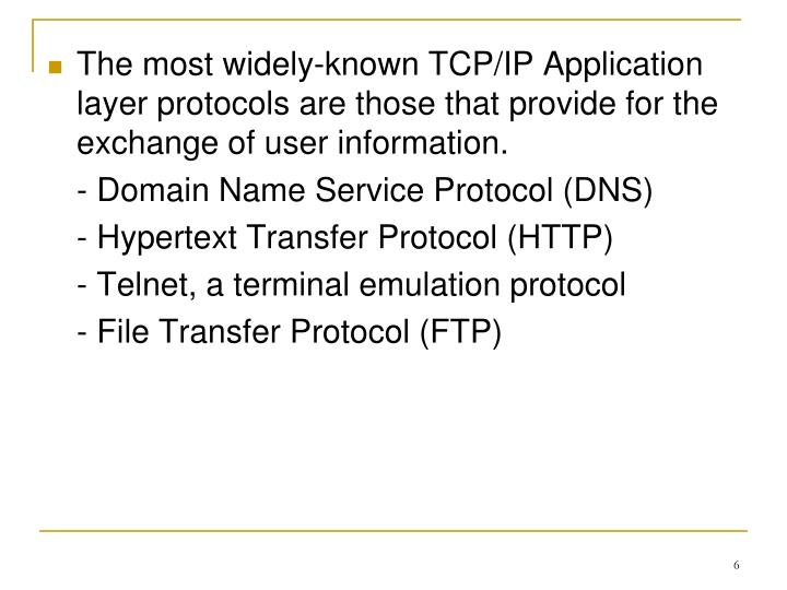 The most widely-known TCP/IP Application layer protocols are those that provide for the exchange of user information.