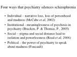 four ways that psychiatry silences schizophrenia