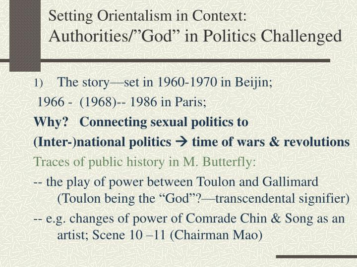 Setting Orientalism in Context: