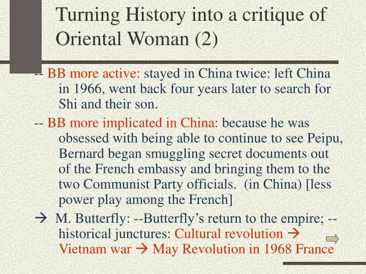Turning History into a critique of Oriental Woman (2)