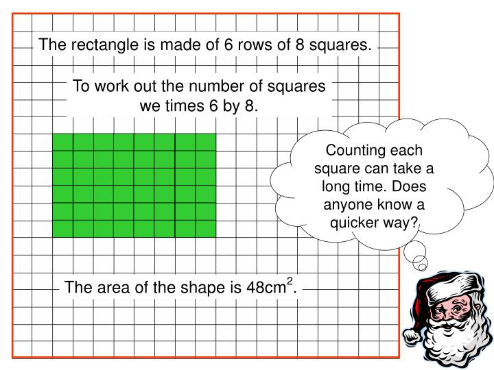 Counting each square can take a long time. Does anyone know a quicker way?