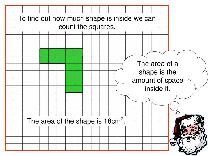The area of a shape is the amount of space inside it.